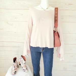 Express romantic bell sleeve knit pullover sweater